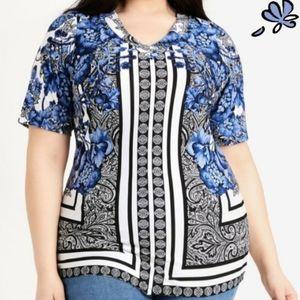 Ashley Stewart Mixed Print Asymmetric Knit top